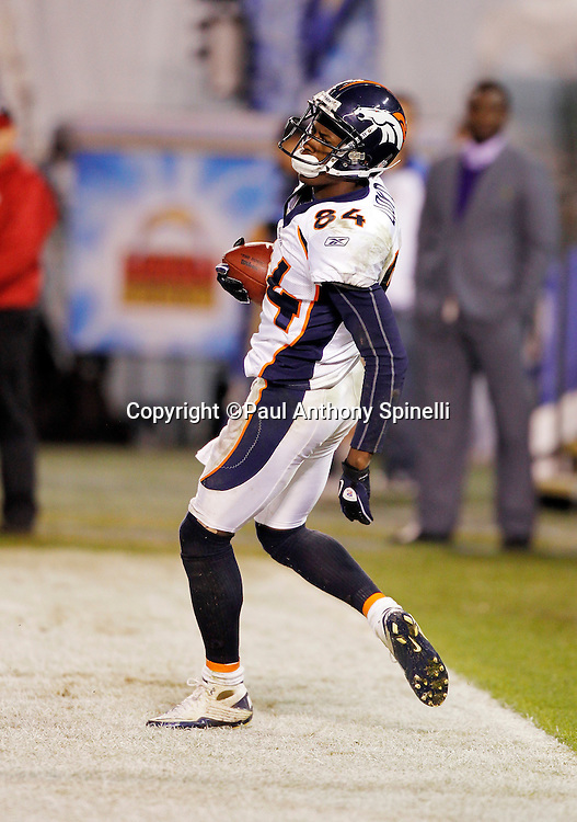 Denver Broncos wide receiver Brandon Lloyd (84) dances out of the end zone after catching a fourth quarter touchdown pass that cuts the San Diego Chargers lead to 35-14 during the NFL week 11 football game against the San Diego Chargers on Monday, November 22, 2010 in San Diego, California. The Chargers won the game 35-14. (©Paul Anthony Spinelli)