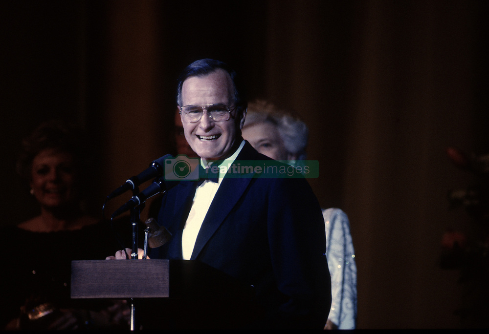 January 20, 1989 - Washington, District of Columbia, U.S - President George H.W. Bush addresses the crowd gathered at one of the inaugural balls to celebrate his campaign victory (Credit Image: © Mark Reinstein via ZUMA Wire)