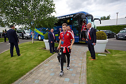 LILLE, FRANCE - Wednesday, June 15, 2016: Wales' Ben Davies arrives at the team hotel, the Novotel Lens Noyelles, ahead of their Group Stage MD 2 game of the UEFA Euro 2016 Championship against England. (Pic by David Rawcliffe/Propaganda)