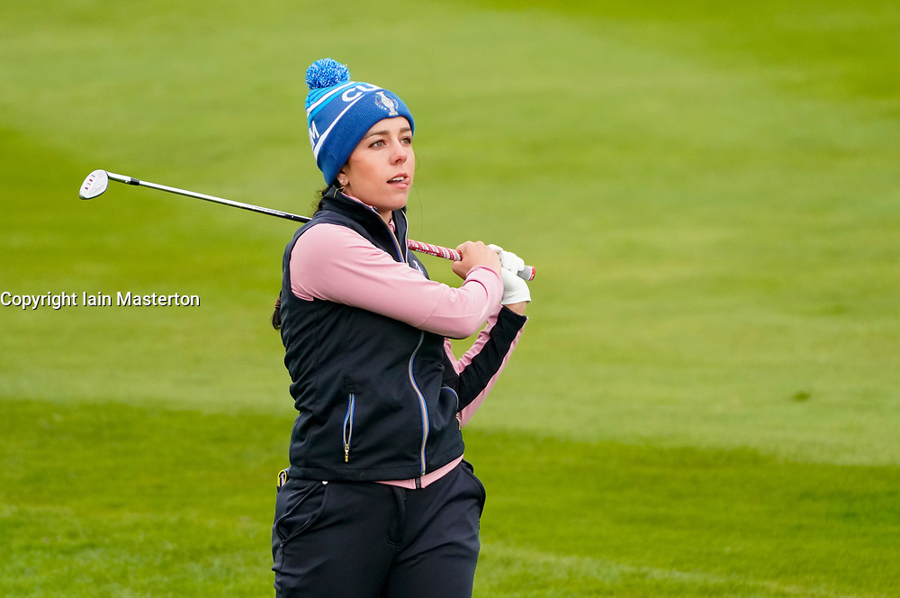 Auchterarder, Scotland, UK. 14 September 2019. Saturday afternoon Fourballs matches  at 2019 Solheim Cup on Centenary Course at Gleneagles. Pictured; Georgia Hall of Team Europe watches approach shot on the 11th hole. Iain Masterton/Alamy Live News