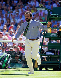 03.07.2014, All England Lawn Tennis Club, London, ENG, WTA Tour, Wimbledon, Tag 10, im Bild Chair umpire Kader Nouni halts the game in the first set tie-break as he leaps from his seat to call for medical assistant for a spectator who was taken ill during the Ladies' Singles Semi-Final match on day ten // during day 10 of the Wimbledon Championships at the All England Lawn Tennis Club in London, Great Britain on 2014/07/03. EXPA Pictures &copy; 2014, PhotoCredit: EXPA/ Propagandaphoto/ David Rawcliffe<br /> <br /> *****ATTENTION - OUT of ENG, GBR*****