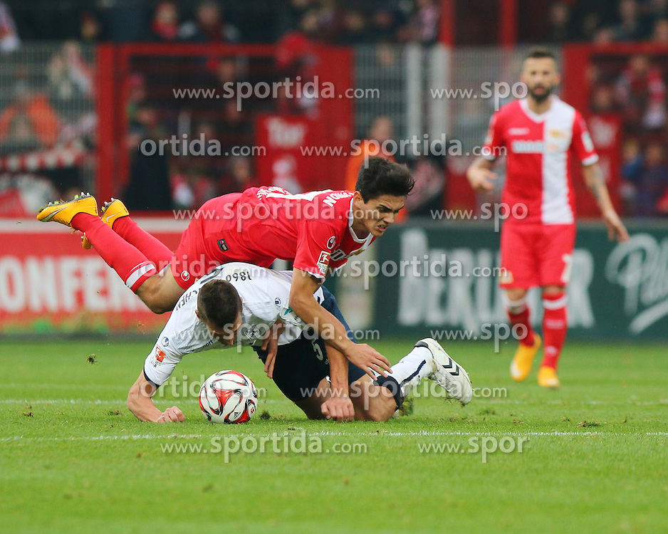 22.11.2014, Alte F&ouml;rsterei, Berlin, GER, 2. FBL, 1. FC Union Berlin vs TSV 1860 Muenchen, 14. Runde, im Bild Fuer dieses Foul an Eroll Zejnullahu (1. FC Union Berlin) sah Guillermo Vallori (TSV 1860 Muenchen) die Gelbe Karte // SPO during the 2nd German Bundesliga 14th round match between 1. FC Union Berlin and TSV 1860 Muenchen at the Alte F&ouml;rsterei in Berlin, Germany on 2014/11/22. EXPA Pictures &copy; 2014, PhotoCredit: EXPA/ Eibner-Pressefoto/ Hundt<br /> <br /> *****ATTENTION - OUT of GER*****