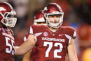 FAYETTEVILLE, AR - NOVEMBER 22:  Frank Ragnow #72 of the Arkansas Razorbacks looks to the sidelines during a game against the Ole Miss Rebels at Razorback Stadium on November 22, 2014 in Fayetteville, Arkansas.  The Razorbacks defeated the Rebels 30-0.  (Photo by Wesley Hitt/Getty Images) *** Local Caption *** Frank Ragnow