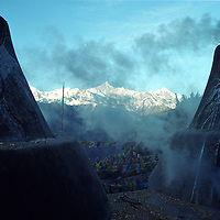 "MEILI MOUNTAIN, DECEMBER 17, 2000: a view of Mt. Meili in the morning in deqin county, Yunnan province , December 17, 2000..Mt. Meili is the highest peak in Yunnan province and according to supporters from Deqin county, it's a ""proof"" that the 'real"" Shangri-La is located in deqin county. The fictuous Mt. Karakal which is described in James Hilton's Lost Horizon, alledgedly is modelled on Mt. Meili in Yunnan province.."