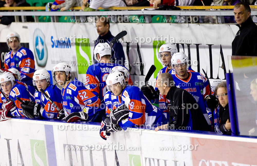 Andrej Zidan, Ales Music, Jaka Ankerst, Ziga Pance, Andrej Hebar and head coach of Slovenia Matjaz Kopitar  during friendly ice-hockey match between National teams of Slovenia and Kazakhstan, on April 12, 2011 at Hala Tivoli, Ljubljana, Slovenia. Kazakhstan defeated Slovenia 3-0.  (Photo By Vid Ponikvar / Sportida.com)