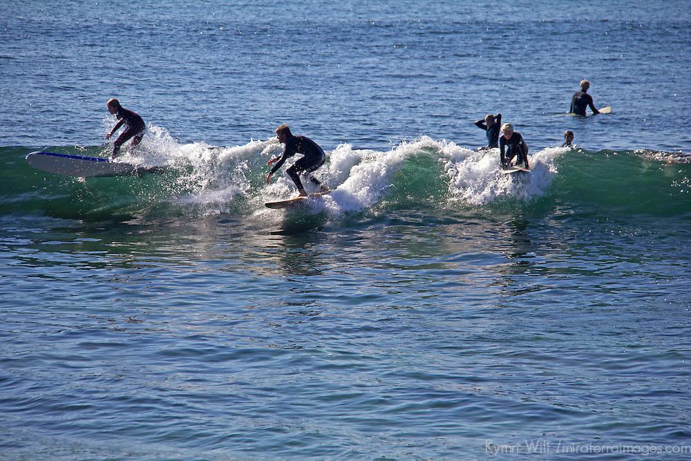 USA, California, San Diego. Surfers at Windansea, La Jolla.