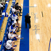 February 19, 2014 - New York, NY : Johnny Halpert's unprecedented 42nd year as coach of Yeshiva University's basketball team will be his last. On Friday, February 6th, coach Halpert announced that his contract would not be renewed. Pictured here, Halpert, center, coaches from the sidelines during Yeshiva's 63-37 loss to Mount Saint Mary's College on Wednesday night. Coach Halpert's name was stenciled onto the court on May 11, 2012. CREDIT: Karsten Moran for The New York Times