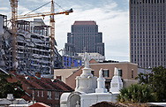 October 13, 2019,  View of the  collapsed Hard Rock Hotel during construction in New Orleans seen from the Saint Louis Cemetery #1.