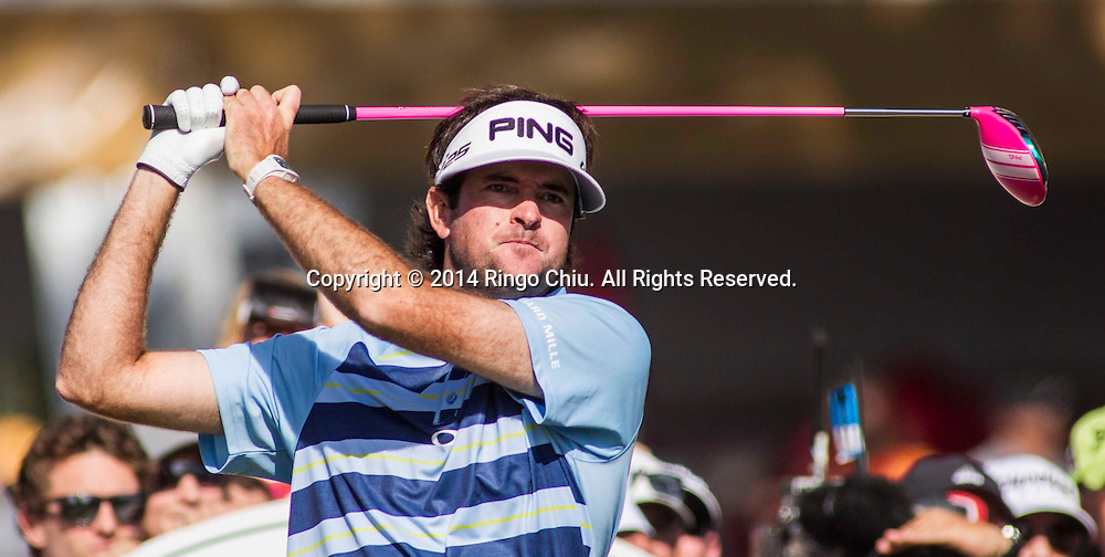 Bubba Watson looks at his shot on the final round of the PGA Tour Northern Trust Open golf tournament at Riviera Country Club in the Pacific Palisades area of Los Angeles Sunday, February 16, 2014. Watson won the Northern Trust Open.<br />  (Photo by Ringo Chiu/PHOTOFORMULA.com)