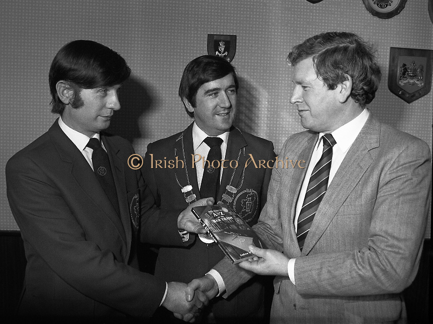 Bartenders Association of Ireland presenting certificates at lunch in Guinness Brewery...1983-02-21.21st February 1983.21/02/1983.02-21-83 ..Pictured at Guinness Brewery, St James's Gate, Dublin..From Left to right:..Andy O'Gorman, College of Marketing.Frank O'Reilly, President of Bartenders Association of Ireland.Pat Healy, Sales Director, Guinness Sales Group