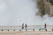 USA, Wyoming, Yellowstone National Park, Midway Geyser Basin, Park Visitors