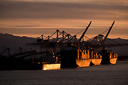 Coal ship loading at sunrise, Roberts Bank Superport, BC