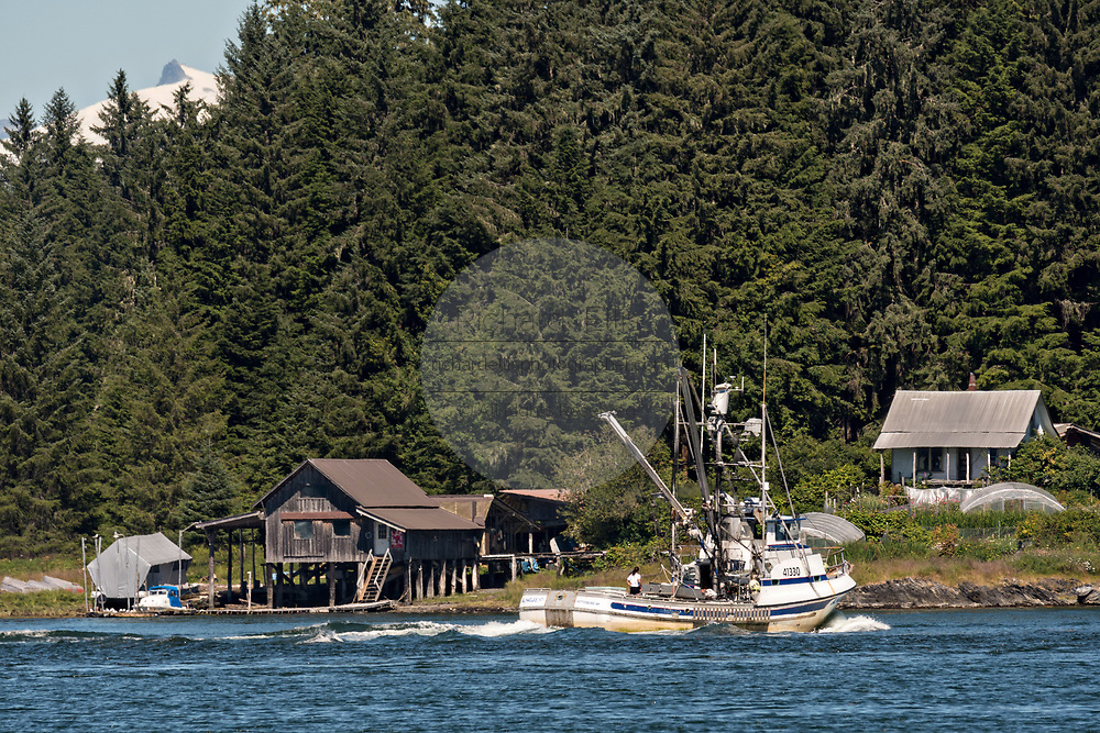 A fishing boat heads down the Wrangell Narrows past the tiny village of Petersburg on Mitkof Island in Frederick Sound with the Alaska Coast Range of mountains behind on Mitkof Island, Alaska. Petersburg settled by Norwegian immigrant Peter Buschmann is known as Little Norway due to the high percentage of people of Scandinavian origin.