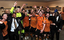 WOLVERHAMPTON, ENGLAND - Saturday, April 18, 2009: Wolverhampton Wanderers' players celebrate promotion to the Premier League after their 1-0 victory over Queens Park Rangers in the League Championship at Molineux Stadium. Wayne Hennessey, Sam Vokes. (Pic by Pool/Wolverhampton Wanderers Handout/Propaganda)