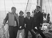 Round Europe Yacht Race.   (R61)..1987..25.07.1987..07.25.1987..25th July 1987..President Patrick Hillery started the Round Europe Yacht Race which began at Dun Laoghaire today...Image shows Commissioner Peter Sutherland,Mrs Breda Saunders McCarthy, President Hillery and Captain Tom McCarthy, STV Asgard ll aboard the Asgard ll.