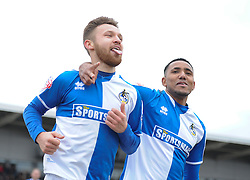 Matt Taylor of Bristol Rovers celebrates with Cristian Montano of Bristol Rovers - Mandatory byline: Alex James/JMP - 19/03/2016 - FOOTBALL - Rodney Parade - Newport, England - Newport County v Bristol Rovers - Sky Bet League Two