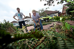 UK ENGLAND BOSTON 7SEP16 - Kathleen Mitcham (65) with her son Doug Michtam (27), a PhD student in Archeology in the front yard of their Boston home.<br /> <br /> jre/Photo by Jiri Rezac<br /> <br /> © Jiri Rezac 2016