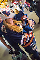 KELOWNA, CANADA - OCTOBER 2: Two generations of Edmonton Oilers fans arrive at the arena on October 2, 2016 at Prospera Place in Kelowna, British Columbia, Canada.  (Photo by Marissa Baecker/Shoot the Breeze)  *** Local Caption ***