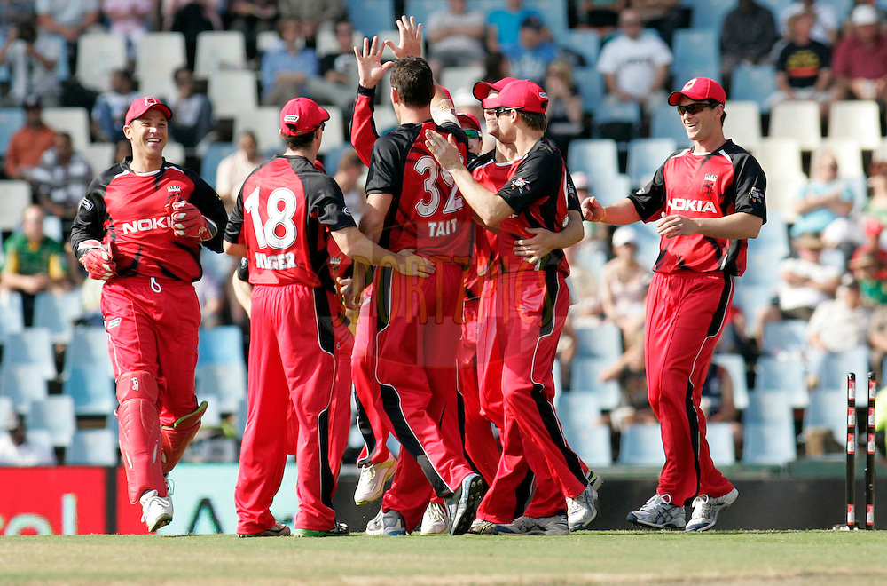 Redbacks players celebrates during match 4 of the Airtel CLT20 held between the Lions and The Redbacks at Supersport Park in Centurion on the 12 September 2010..Photo by: Abbey Sebetha/SPORTZPICS/CLT20