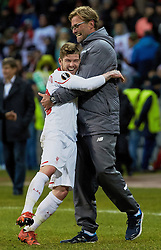 KAZAN, RUSSIA - Thursday, November 5, 2015: Liverpool's Alberto Moreno celebrates with manager Jürgen Klopp after the 1-0 victory over Rubin Kazan during the UEFA Europa League Group Stage Group B match at the Kazan Arena. (Pic by Oleg Nikishin/Propaganda)