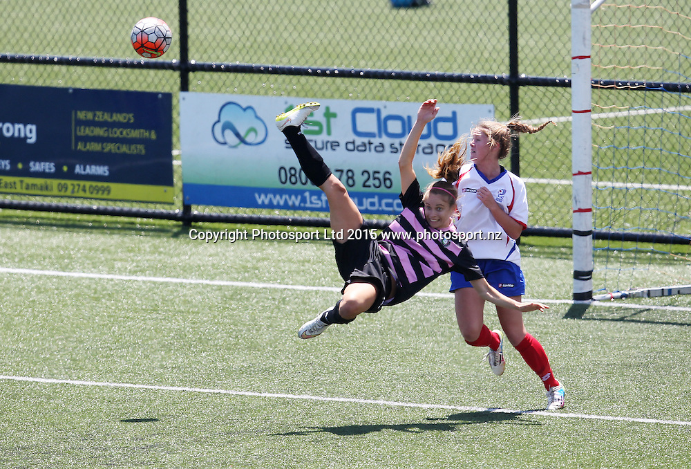 Northern's Kathryn Rood attempts a bycicle kick to try and score a goal. ASB Women's League, Auckland v Northern, William Green Domain Auckland, Sunday 8th November 2015. Copyright Photo: Shane Wenzlick
