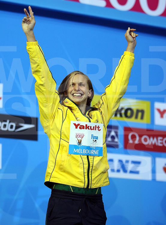 12th Fina World Swimming Championships Melbourne, 2007, 30th March. Gold for Libby Lenton of Australia in the 100m freestyle,..fotografie: frank uijlenbroek©2007Grant Treeby ..