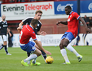Dundee's Greg Stewart takes on Wigan's Denervan Daniels and Andrew Taylor - Dundee v Wigan Athletic - pre season friendly at Dens Park<br /> <br />  - &copy; David Young - www.davidyoungphoto.co.uk - email: davidyoungphoto@gmail.com