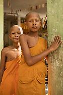 Novice monks at a monastary by Angkor Wat, Cambodia