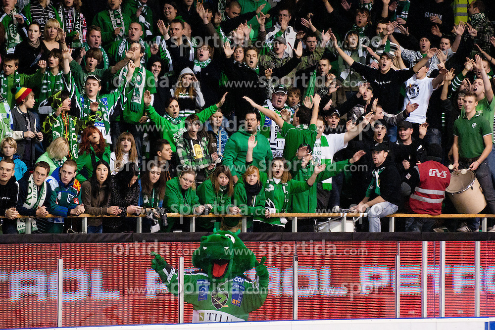 Dragon Hoki and Olimpija fans during ice-hockey match between HDD Tilia Olimpija and HK Acroni Jesenice in 23rd Round of EBEL league, on November 20, 2011 at Hala Tivoli, Ljubljana, Slovenia. HDD Tilia Olimpija won 5:2. (Photo By Matic Klansek Velej / Sportida)