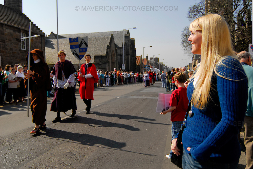 A crowd of some 15,000 people gathered on the streets of St. Andrews to celebrate the lives and contributions of some of the great men and women of the town and unviersity in the annual Kate Kennedy Parade.  The event is organised every year by students of St Andrews University.