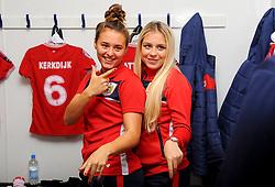 Ella Rutherford and Poppy Pattinson of Bristol City pose for a photograph- Mandatory by-line: Nizaam Jones/JMP - 28/04/2019 - FOOTBALL - Stoke Gifford Stadium - Bristol, England - Bristol City Women v West Ham United Women - FA Women's Super League 1