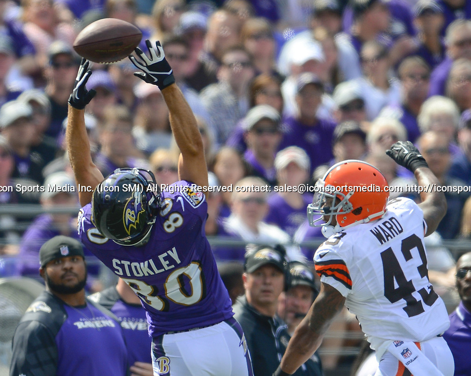 Sept. 15, 2013 - Baltimore, MD, USA - Baltimore Ravens wide receiver Brandon Stokley as a Joe Flacco pass sail over his outstretched hands while being defended by Cleveland Browns strong safety T.J. Ward during the first half of their game on Sunday, September 15, 2013, in Baltimore, Maryland