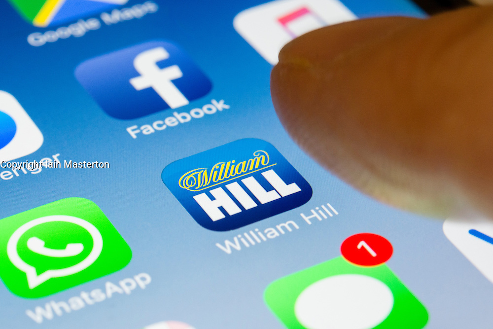 William Hill online betting app close up on iPhone smart phone screen