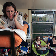 Students hang out in Crawford Residence Hall on the Drake University campus.  photo by david peterson