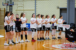 Players of ZKD Maribor during basketball match between ZKK Triglav Kranj and ZKD Maribor in Round #1 of 1. Slovenian Woman basketball league, on February 20, 2018 in ŠD Planina, Kranj, Slovenia. Photo by Ziga Zupan / Sportida