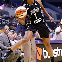 25 May 2014: San Antonio Stars guard Jia Perkins (7) passes the ball during the Los Angeles Sparks 83-62 victory over the San Antonio Stars, at the Staples Center, Los Angeles, California, USA.