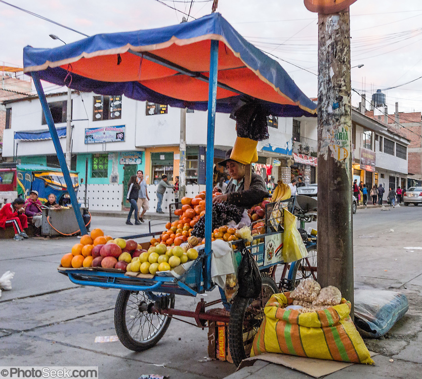 Tricycle-powered fruit stand in Huaraz, in the Santa Valley (Callejon de Huaylas), Ancash Region, Peru, Andes Mountains, South America.