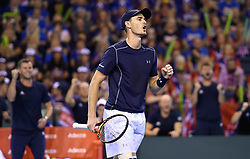 Great Britain's Jamie Murray celebrates afer winning a game during day two of the Davis Cup match at Emirates Arena, Glasgow.