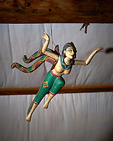 Flying goddess and shadow. Workshop space at Kelly's Place, near Cortez. Image taken with a Nikon D3 camera and 24-70 mm f/2.8 lens (ISO 200, 70 mm, f/5.6, 1/125 sec) and flash.<br /> <br /> Maybe Javanese, Sundanese,  Balinese, pre-Hindu Dewi Sri, or Shridevi. Or An Apsara (Apsarasa) Hindu or Buddhist flying spirit.