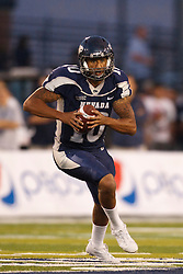 September 17, 2010; Reno, NV, USA; Nevada Wolf Pack quarterback Colin Kaepernick (10) rushes up field on an option during the first quarter against the California Golden Bears at Mackay Stadium. Nevada defeated California 52-31.
