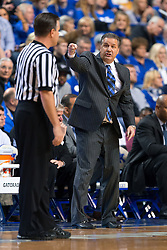 Kentucky head coach John Calipari disagrees with a call in the first half. <br /> <br /> The University of Kentucky hosted the LSU Tigers, Saturday, March 05, 2016 at Rupp Arena in Lexington .