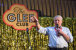 © Licensed to London News Pictures . 07/10/2014 . Glasgow , UK . PADDY ASHDOWN joins delegates and sings on the stage . Glee club fringe event overnight at the conference hotel . The Liberal Democrat Party Conference 2014 at the Scottish Exhibition and Conference Centre in Glasgow . Photo credit : Joel Goodman/LNP