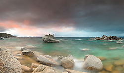 """Sunrise at Bonsai Rock 3"" - Stitched panoramic photograph of Bonsai Rock on the east shore of Lake Tahoe, shot at sunrise."