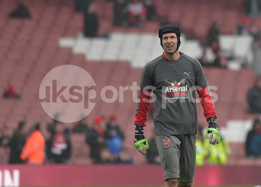 Petr Čech of Arsenal warms up during the Premier League match between Arsenal and Hull City at the Emirates Stadium, London, England on 11 February 2017. Photo by Vince  Mignott.