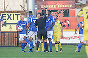 Southport Liam Hynes shown a straight red card during the Vanarama National League match between Southport and Eastleigh at the Merseyrail Community Stadium, Southport, United Kingdom on 17 December 2016. Photo by Pete Burns.