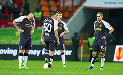 MOSCOW, RUSSIA - Thursday, November 8, 2012: Liverpool's Joe Cole and Adam Morgan look dejected as FC Anji Makhachkala score the only goal of the game during the UEFA Europa League Group A match at the Lokomotiv Stadium. (Pic by David Rawcliffe/Propaganda)