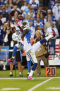 San Diego Chargers wide receiver Vincent Brown (86) keeps his eyes on the ball as he leaps while trying to catch a first quarter deep pass broken up by leaping Indianapolis Colts cornerback Greg Toler (28) during the NFL week 6 football game against the Indianapolis Colts on Monday, Oct. 14, 2013 in San Diego. The Chargers won the game 19-9. ©Paul Anthony Spinelli