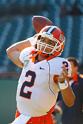 Dec 31, 2011; San Francisco CA, USA;  Illinois Fighting Illini quarterback Nathan Scheelhaase (2) warms up before the game against the UCLA Bruins at AT&T Park.  Mandatory Credit: Jason O. Watson-US PRESSWIRE
