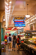 2018 MAY 15 - Lowell's Restaurant sign in Pike Place Market in Seattle, WA, USA. By Richard Walker