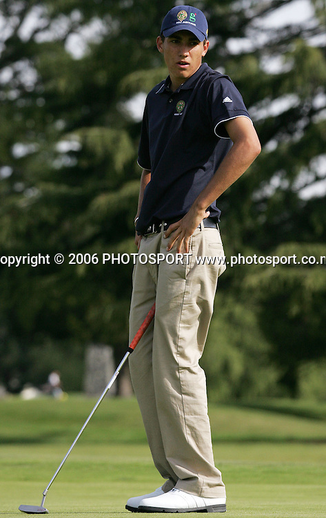 Australia's Matt Jager reacts after missing a putt during the Clare Higson Trophy singles match between New Zealand's Danny Lee and Australia's Matt Jager at Hamilton Golf Club in Hamilton, New Zealand on Tuesday 26 September, 2006. Danny Lee won the match 2 and 1. Photo: Tim Hales/PHOTOSPORT